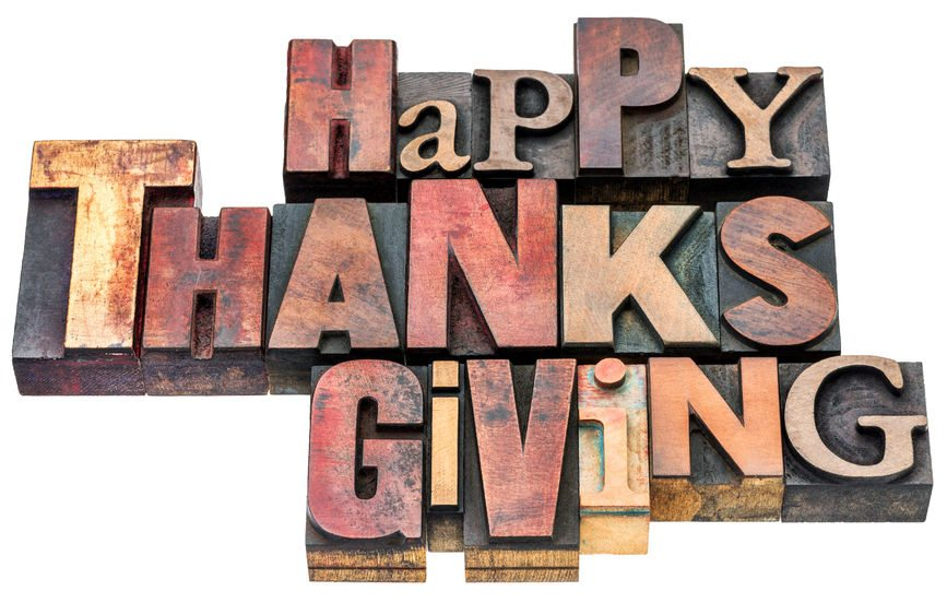 happy thanksgiving sign or greeting card